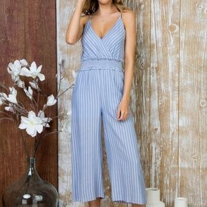 Pants - FRONT WRAP WITH WAIST SMOCKING JUMPSUIT